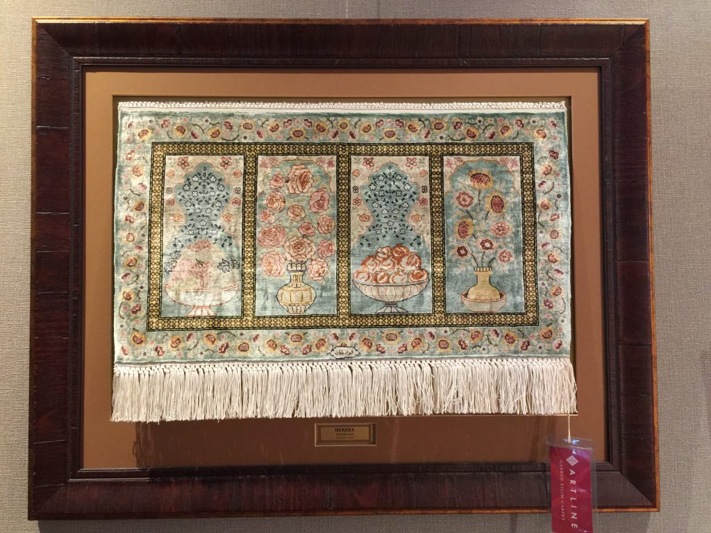 トルコ,ヘレケ絨毯,シルク,壁掛け,額入り