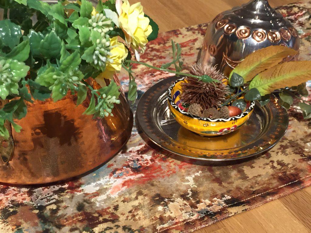 テーブルランナー,トルコ陶器,トルコ銅製品,秋,模様替え